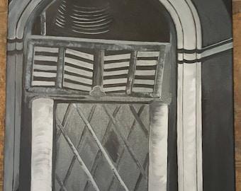 "ORIGINAL Monochrome Painting, Acrylic, Vintage Jukebox- 20"" x 16"""