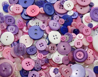 100 Buttons  Purple Pink White Mix Assorted sizes, Fairy Princess Mix, Sewing, Crafting  Jewelry (1640