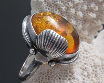 Sterling Amber Ring Vintage Jewelry