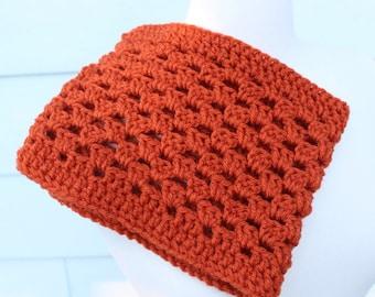 Orange crochet scarf, orange crochet cowl, orange cowl scarf, orange neckwarmer, pumpkin scarf, shell stitch cowl, pumpkin cowl