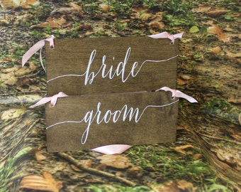 BRIDE/GROOM/Chair Signs/Photo Prop/Shower Gift/Rustic/Wood Sign/Hand Lettered/Wood Signs