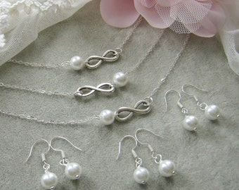 SET of 6 Infinity pearl necklace and earring SET, bridesmaid necklace, bridesmaid gift, wedding jewelry - W036S (Choose your pearl colour)