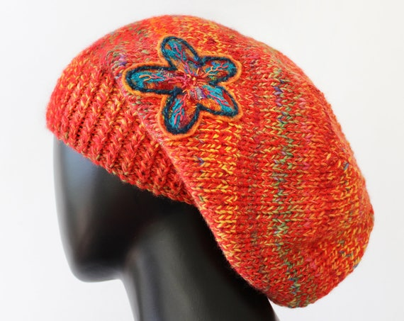 Papaya Slouch Hat  - Orange Slouch Hat - Slouchy Warm & Cosy Knitted Hat - Colourful Orange Slouchy Hat for Winter - Bright orange hat