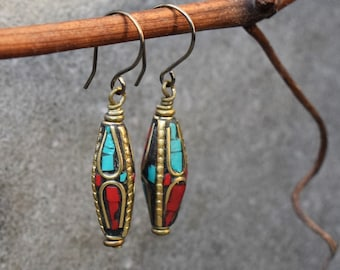 Ethnic Earrings, Nepalese Jewelry, Boho Earrings Hippie Jewelry, Gold Brass Long Earrings, Turquoise & Coral Inlaid Beads, Niobium Ear Wires
