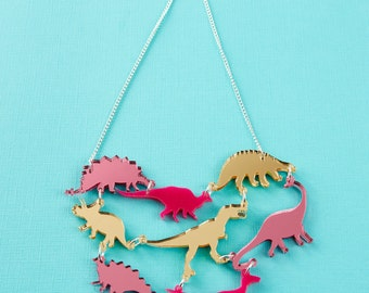 Pink Dinosaur Gang Acrylic Necklace // Laser Cut, Cute Jewellery //  Dinosaur Acrylic Jewellery