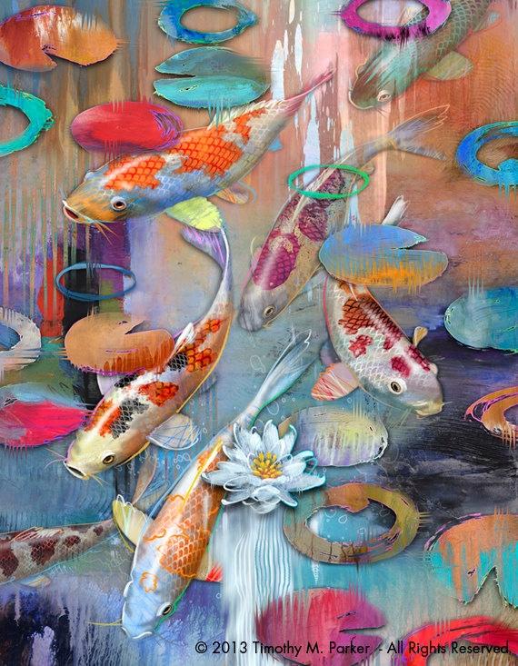 Art wall Modern Home Decor Print ABSTRACT OIL PAINTING ... |Modern Koi Fish Painting