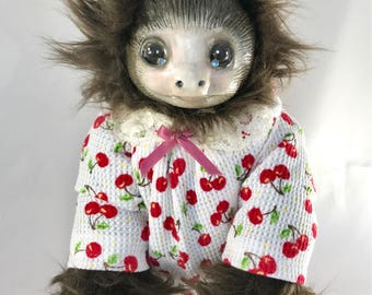 OOAK fine art doll: Baby Two-Toed Sloth in Cherry Print Pajamas