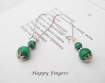 Malachite Earrings Malachite Jewelry Gemstone Earrings Green Earrings Everyday Earrings Beaded Earrings Gift For Her Striped earrings
