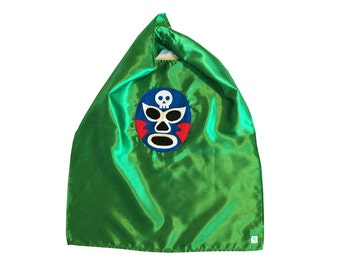 Luchador Azul - Blue Mexican Wrestler Cape - Green