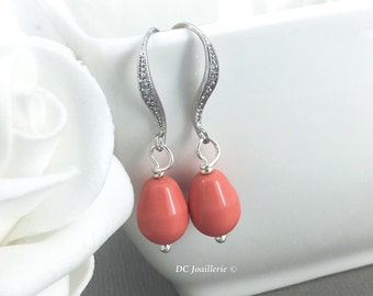 Bridesmaid Earrings Coral Earrings Dangle Earrings Drop Earrings Bridesmaid Earrings Pearl Earrings Swarovski Earrings Gift for Her