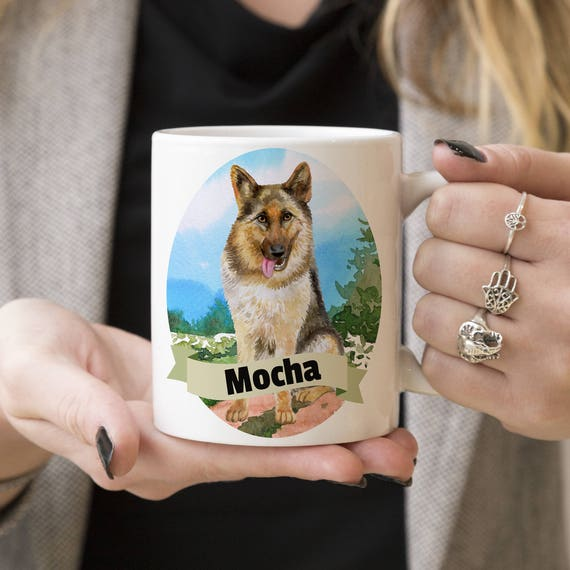 German Shepherd Custom Dog Mug - Get your dogs name on a mug - Dog Breed Mug - Great gift for dog owner - German Shepherd mug