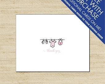 Baby Clothes Line Thank You Cards - Personalized Baby Clothes Line Note Cards, Boy or Girl