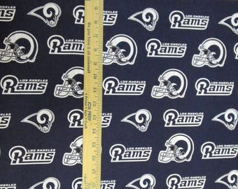NFL Logo Los Angeles Rams Navy & White 14760 Cotton Fabric by Fabric Traditions! [Choose Your Cut Size]