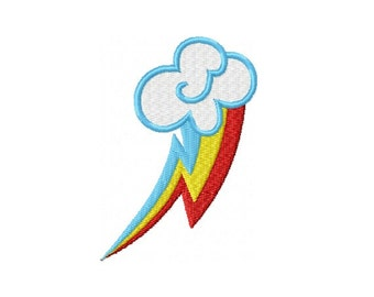 Rainbow Dash Cutie Mark Embroidery Design for 4 x 4 Hoop - Instant Download