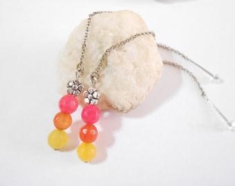 Summer Threader Earrings Pink Orange Yellow Agate Ear Threads Delicate Gemstone Jewelry Long Earrings Bolivian Jewelry Friend Gifts under 20
