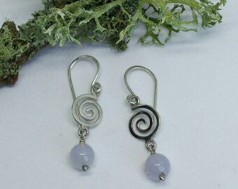 Sterling Silver Spiral Earrings with Blue Lace Agate