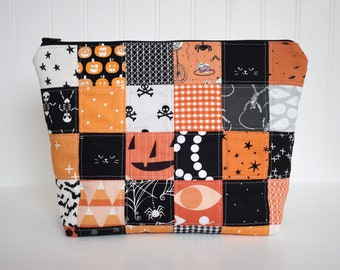Fabric Halloween Quilted Patchwork Zipper Pouch