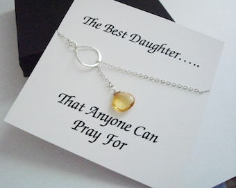 Eternity Infinity Citrine & Briolette Silver Lariat Necklace ~~Personalized Card for Daughter, Step Daughter, Daughter in Law, Bridal Party
