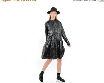 On sale !!! 193 USD insteat 387 USD. Cool Lightweight BLACK Rain-Coat, Oversized Fashionable Coat with Pleats, Everyday Coat with pockets, B