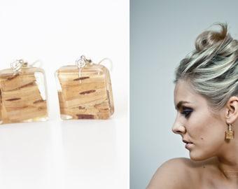 Wooden earrings - Wood earrings - Birch earrings - Real birch jewelry - Resin earrings - Woodland earrings - Nature inspired jewelry