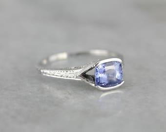 Art Deco Sapphire Solitaire East to West Ring, Vintage Engagement Ring Y5D837-P
