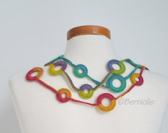 Crochet circle necklace, rainbow colors, N387