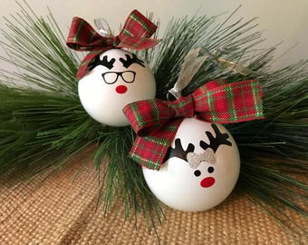 Mr. & Mrs. Rudolph Glass Ornaments - Set of 2