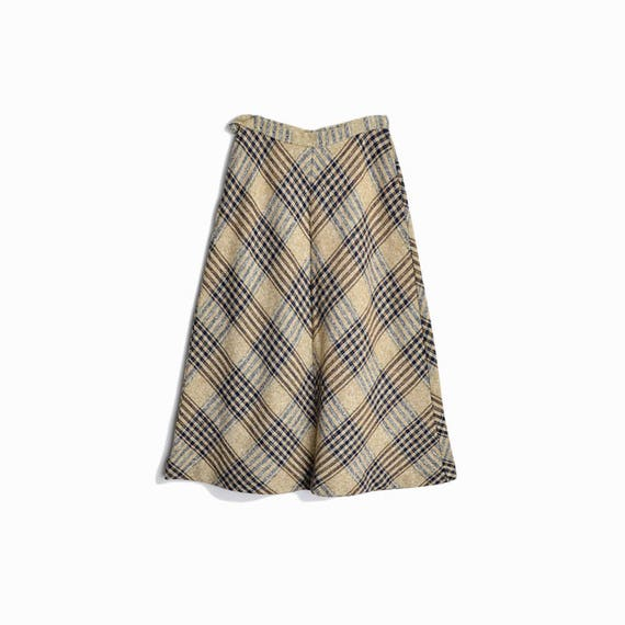 Vintage 60s Chevron Plaid Blanket Skirt in Tan & Navy - women's xs
