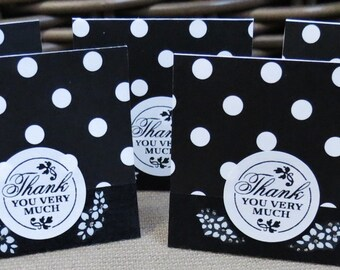 Black and White Mini Thank You Cards Set of 30, Handmade, Polka Dots, Thank You Cards, Mini Cards