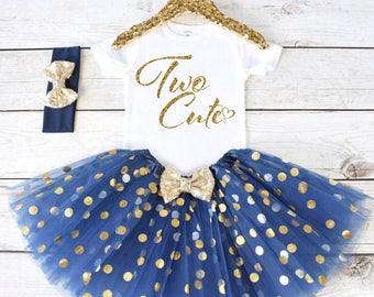 Two Cute. 2nd Birthday Outfit. Girls Birthday Outfit. Birthday Shirt. Birthday Tutu Outfit. Birthday Girl. 2nd birthday S2 2BD (NAVY)