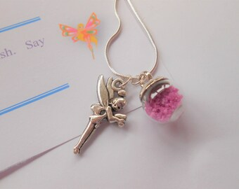 Fairy Wish Necklace, Fairy Pendant Necklace, Girl's Necklace, Faerie Necklace, Fairy Dust Charm, Girl's Charm Necklace, Fairy Charm