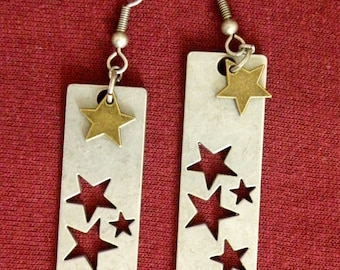 Earrings, Star Bar on French Wires, jewelry (883 884)