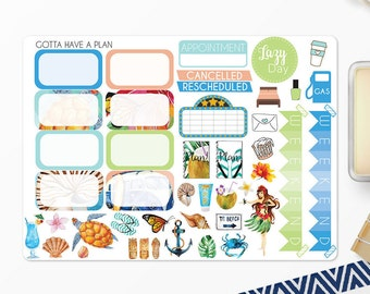Planner Stickers Aloha Half Boxes and Decorative for Erin Condren, Happy Planner, Filofax, Scrapbooking
