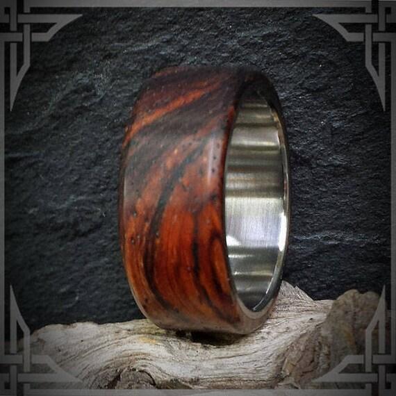 Titanium Ring Featuring Cocobolo Hardwood. Custom Jewelry