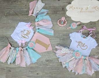 "The ""Mint Carousel"" Collection. Pink Mint & Gold Fabric Tutu, Cake Smash outfit, First Birthday Girl, Birthday Outfit, High Chair Banner"