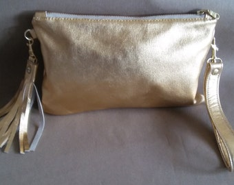 Gold Leather Metallic Clutch, with leather wristlet and tassel, gold wristlet, evening purse, zipper purse., leather purse, leather handbag