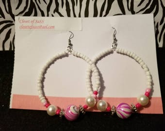 White hoop earrings/glass beads/pink and white/memory wire earrings