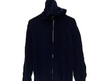 Vintage BEAMS Japanese Designer Made In Japan Blue Hoodie Zip Up Sweatshirt Plus