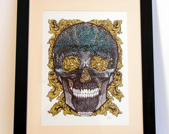 Skull Print, Limited Edition,  Silk Screen Print, Detail, gold, metallic, memento mori