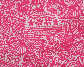 """hotty pink get crackin'  poplin cotton fabric square 18""""x18"""" ~ lilly pulitzer"""