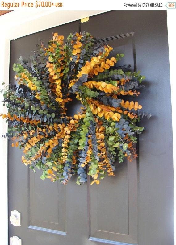 SUMMER WREATH SALE Eucalyptus Wreath- Year Round Wreath- Spring Wreath- Wall Decor- Dried Floral Wreath