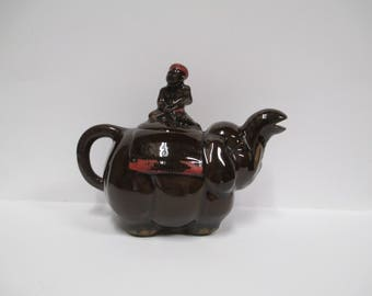 "Vintage Redware Elephant Teapot, Miniature Tea Kettle, Mini Red Clay Elephant,  4"" Elephant Figurine"