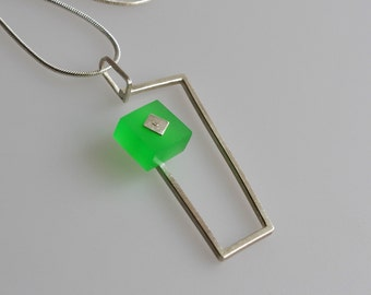 Sterling Silver Necklace with Green Acrylic / Plexi, Geometric Pendant, Abstract Jewelry, Unique Jewelry