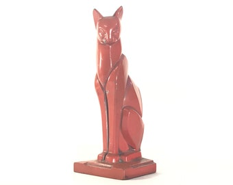Art Deco Cat Bookend Cubist Form Red Cast Metal c. 1920s
