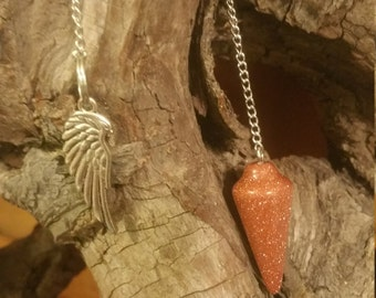 Goldstone Pendulum with Silver tone Feather
