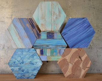 Hexagon Art, Hexagon Wall Art, Reclaimed Wood Hexagon Art, Reclaimed Wood Art, Ombre Art, Ombre Wood Art, Blue Ombre Hexagon, Reclaimed Wood