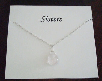 Wire Wrapped Rose Quartz Briolette Silver Necklace ~~Personalized Jewelry Gift Card for Sister, Best Friend, Sister in Law, Bridal Party