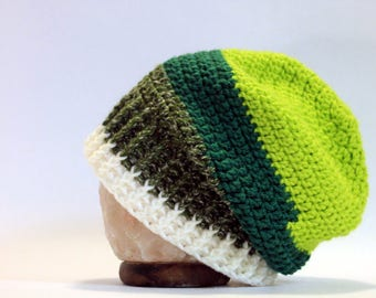 Hand Crocheted Slouch Beanie - Green