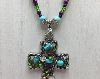 South western cross necklace, turquoise necklace