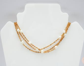 Floating Pearls Gold Chain Layered Necklace.